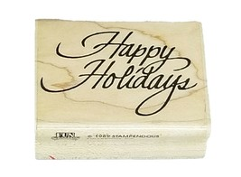 Stampendous Happy Holidays Wood Mounted Rubber Stamp