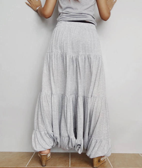 Women Ruffle Long Pant, Casual Gypsy,Yoga, Bohemian ,Soft Gray Cotton Blend(Pant