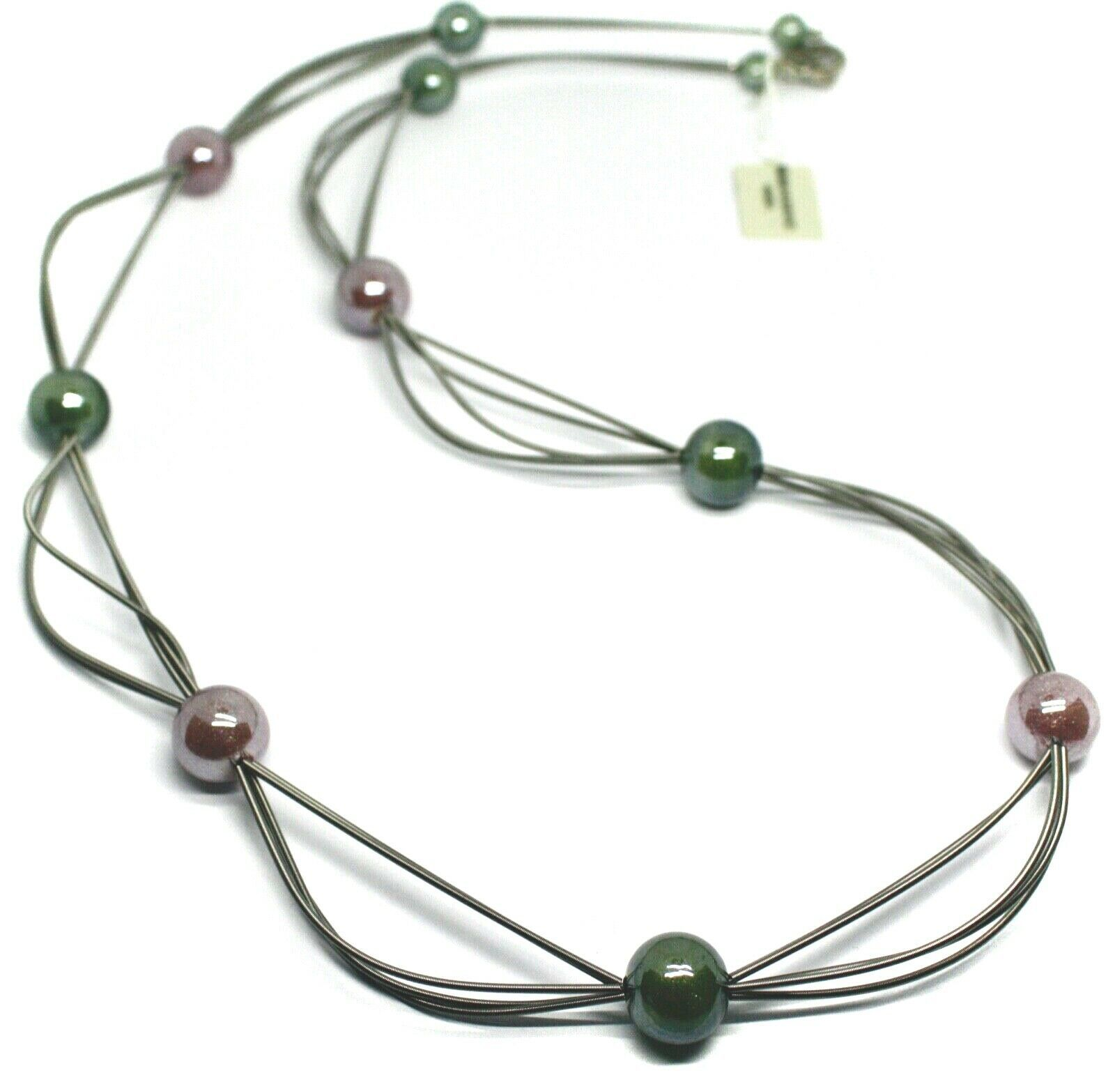 """MULTI WIRES NECKLACE GREEN PURPLE BIG MURANO GLASS SPHERES, 90cm 35"""" LONG, ITALY"""
