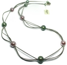 """MULTI WIRES NECKLACE GREEN PURPLE BIG MURANO GLASS SPHERES, 90cm 35"""" LONG, ITALY image 1"""