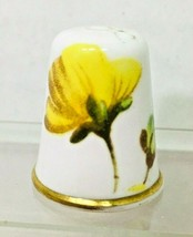 """Older Thimble Spode England Yellow Flower 1"""" Gold Trim Signed M5 - $18.32"""