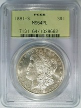 1881 S Silver Morgan Dollar PCGS MS 64 PL Proof Like Graded Coin Mirrors... - $214.99
