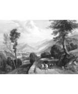 ITALY Carrara - 1864 Fine Quality Print Engraving - $35.96