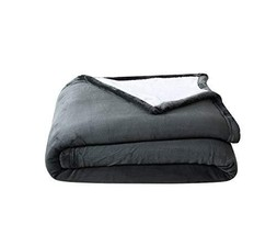 Chezmoi Collection FS200 Micromink Sherpa Reversible Throw Blanket King, Gray