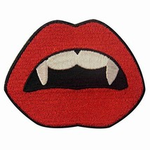 Vampire Mouth Blood Sexy Red Lips Embroidered Applique Iron On Sew Patch... - $9.48