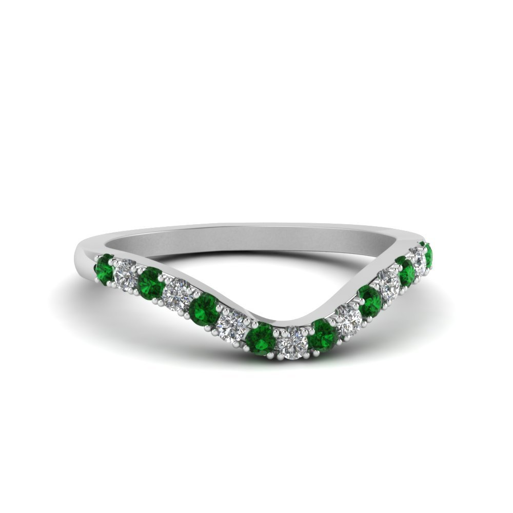 Primary image for Custom Green Emerald & CZ Diamond 14K White Gold FN Curved Wedding Band Ring