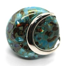Ring Antique Murrina, Murano Glass, Disco Convex, Aqua Blue, Green image 2