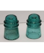 2 Antique Vintage Brookfield 14 Glass Insulator Green Aqua Art Decor Col... - $27.67