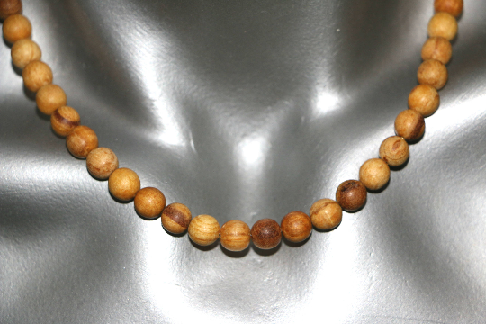 palo santo wood necklace from peru - handmade