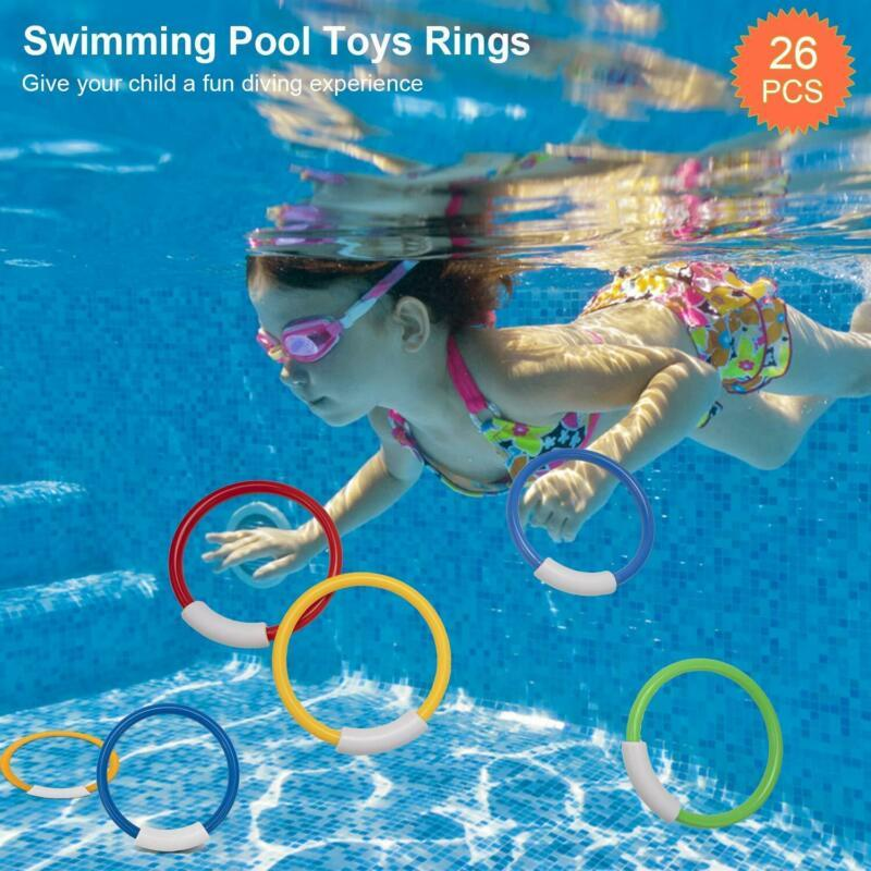 Henmi 26 Pack Diving Toy For Pool Use Underwater Swimming/Diving Pool Toy Rings,