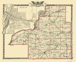Tazewell Illinois Landowner - Warner 1876 - 28.31 x 23 - $36.95+
