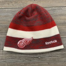 "Reebok NHL Detroit Red Wings 9"" Beanie Hat Red/White/Grey Center Ice Collection  - $9.89"