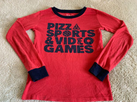 Childrens Place Boys Red Blue Pizza Video Games Long Sleeve Pajama Shirt... - $7.38