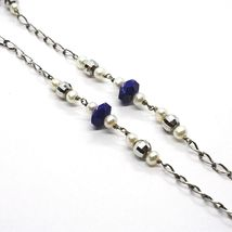 Necklace Silver 925, Lapis Lazuli Blue Disco, Pearls, Pendant Drop image 4