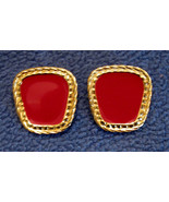Avon Nautical Clip On Earrings Nickel Free ✿ 1990s VTG Red Bold Style Ro... - $19.75
