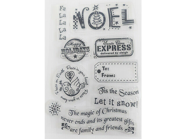 Christmas Clear Stamp Set with Icons and Sentiments