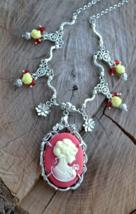 Cameo necklace, Victorian necklace, Victorian Cameo necklace, silver, re... - $38.99