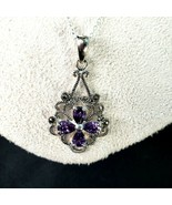 Sterling 925 Amethyst Marcasite Quatrefoil Pendant and 18 in. Chain - $24.88