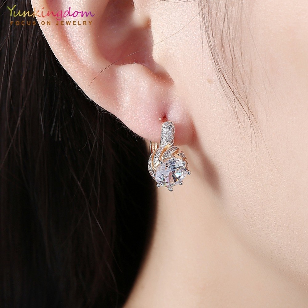 yunkingdom round crystal earrings gold color woman hoop earings vintage fashion