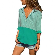 Stripe Blocked Collared Button-Front Blouse - $15.46