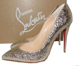 Christian Louboutin PIGALLE Follies Pumps 38 Platinum Leather Pointy Toe Shoes - $469.99