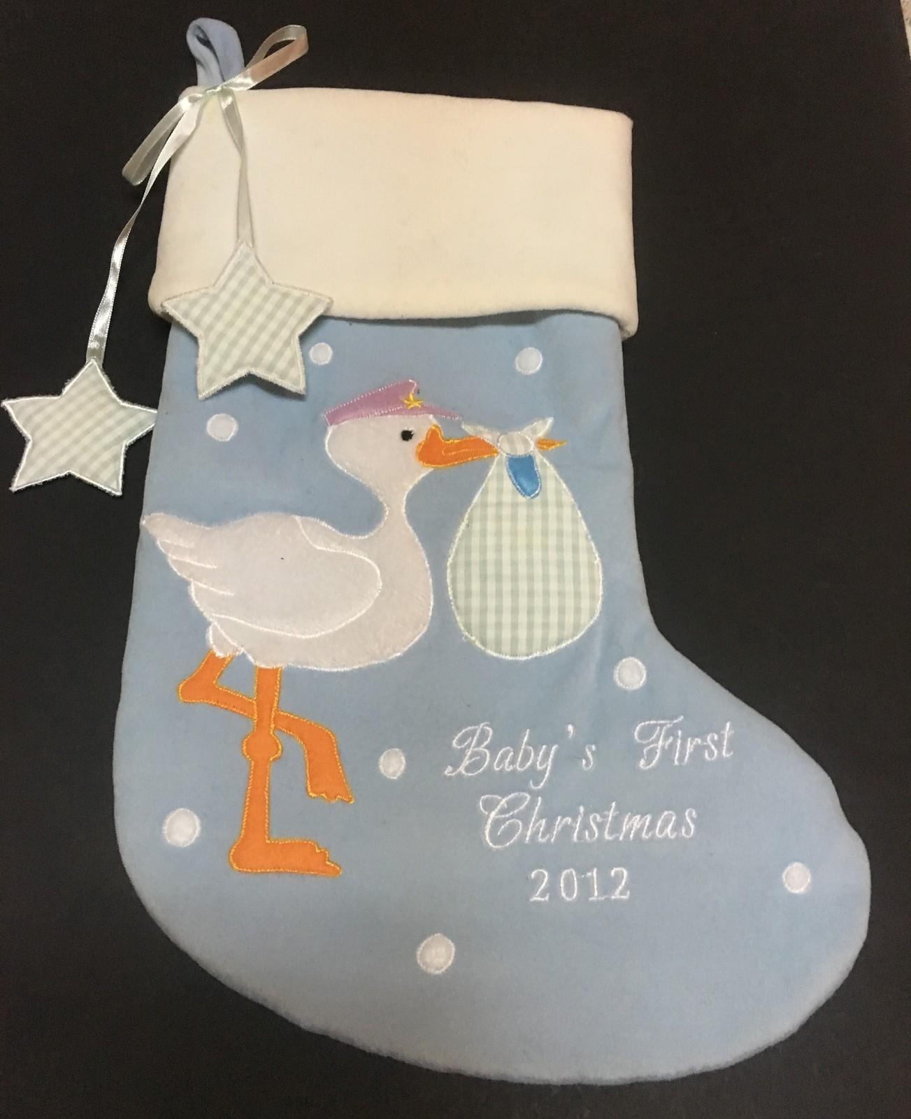 "Baby's 1st Christmas 2012 Blue Plush Stocking 14"" x 8"""