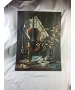 """Large Violin Vintage Paint By Number 18""""x24"""" PBN Still Life - $56.09"""