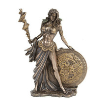 PTC 9.5 Inch Bronze Colored Frigga Figurine with Staph and Round Shield - $51.47