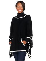 BELLE BY KIM GRAVEL Size XL/1X Bateau Neck Knit Poncho BLACK - $49.01