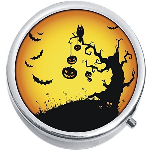 Primary image for Pumpkins Bats Halloween Medicine Vitamin Compact Pill Box