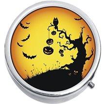Pumpkins Bats Halloween Medicine Vitamin Compact Pill Box - $9.78