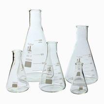 Glass Flask 5 Piece Set, Narrow Mouth Erlenmeyer, Borosilicate 3.3 Glass... - $54.00
