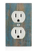 Wood with Blue on Wooden Old Vintage Background Electrical Outlet Plate - $17.06