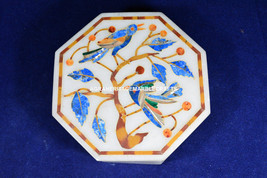 "6""x6"" Mosaic Marble Personalized Box Birds Art Inlaid Lapis Floral Decor H5577 - $180.25"