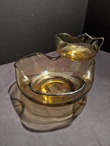 Anchor and Hocking chip and dip set 1960's, 1970's gold glass - $45.00