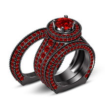 Womens Red Garnet Engagement Ring And His Her Band Trio Ring Set 925 Rea... - $174.99