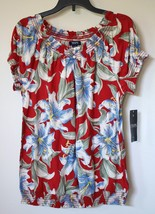 Chaps Ralph Lauren Plus Floral Smocked Peasant Blouse Banded Bottom Top 1X 16W - $39.99