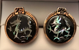 Incredible RARE Vintage Swank Hand-Inlaid Mother of Pearl Dragon Cuflinks - $145.00
