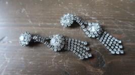 Vintage Dangle Rhinestone Earrings 10cm - $24.74
