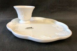 Colony Milk Glass Snack 8 Piece Set Harvest C787 Plate Cup Mug Grapes Leaves - $25.30