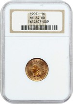 1907 1c NGC MS64 RD - Indian Cent - $242.50
