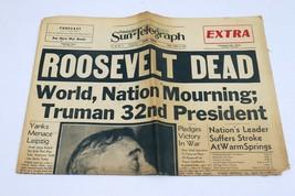 ORIGINAL Vintage Apr 13 1945 Death of FDR WWII Pittsburgh Sun Newspaper  - $59.39