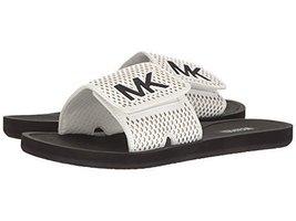 MICHAEL Michael Kors Womens Lasered Casual Slide Sandals White 6 Medium (B,M)