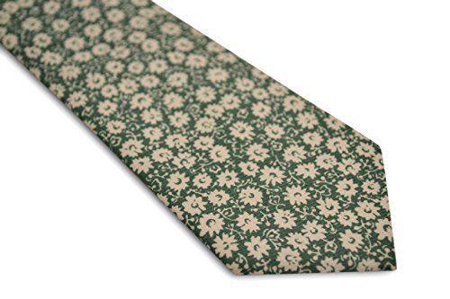 Frederick Thomas green and white floral men's 100% cotton tie