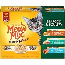 Premium Meow Mix Paté Toppers Wet Cat Food, Seafood & Poultry Variety Pa... - $20.56