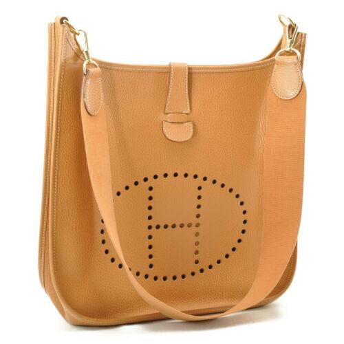 HERMES Evelyn GM Shoulder Bag Leather Brown Auth 9208