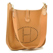 HERMES Evelyn GM Shoulder Bag Leather Brown Auth 9208 - $1,280.00