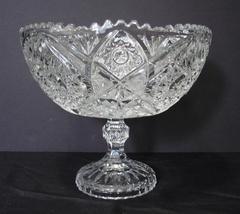 Vntg  American Brilliant Period Cut Crystal Pedestal Bowl Compote Centerpiece - $74.99