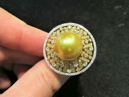 NWT $15,800 18KT RARE FANCY SOUTH SEA 14-15MM AA-AAA GOLDEN PEARL DIAMON... - $7,821.00