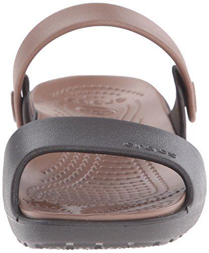 crocs Damen Coretta Offene Sandalen (34/35 EU|Braun (Espresso/Bronze 25m))